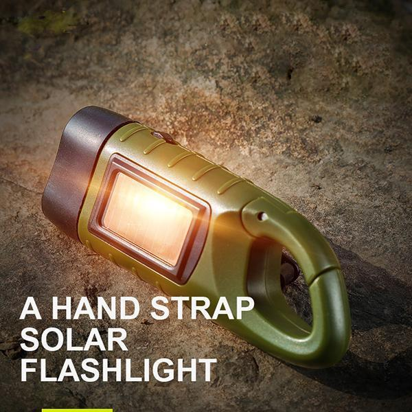 Hand Operated Solar Rechargeable Flashlight