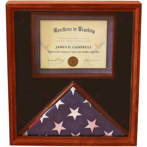 Flag Display Case with Certificate, Certificate Display Case, Decomil Decoration Store