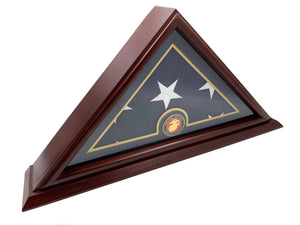 DECOMIL Marine Flag Display Case Box, 5x9 Burial - Funeral - Veteran Elegant Wood Display Case with small  Base