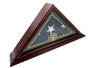 DECOMIL - Army Flag Display Case Box, 5x9 Burial - Funeral - Veteran Flag Elegant Display Case With Small Base, Solid Wood, Cherry Finish