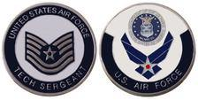 "AIR FORCE ENLISTED RANKS - TECHNICAL SERGEANT ""E6'' CHALLENGE COIN / LOGO POKER / LUCKY CHIP"