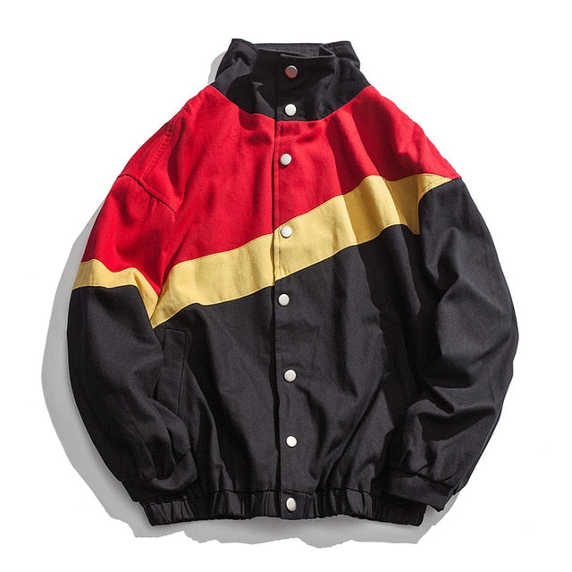 Heights Culture Windbreaker Jacket Striped Single Breasted Baseball Overcoat - Heights Culture