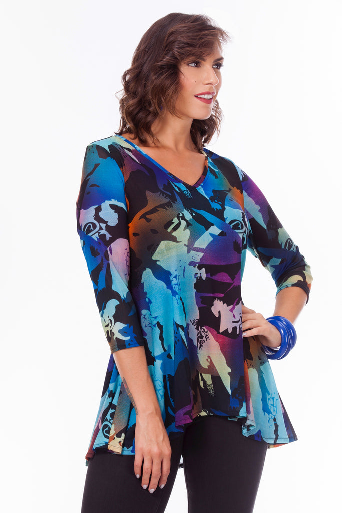 Michelle High Low Tunic - Whimsical Garden