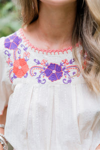 Isla Embroidered Blouse ~ Orchard Mist