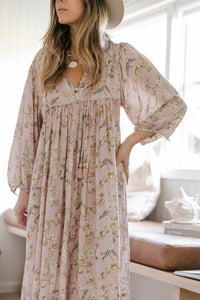 Palm Smock Dress ~ Blush