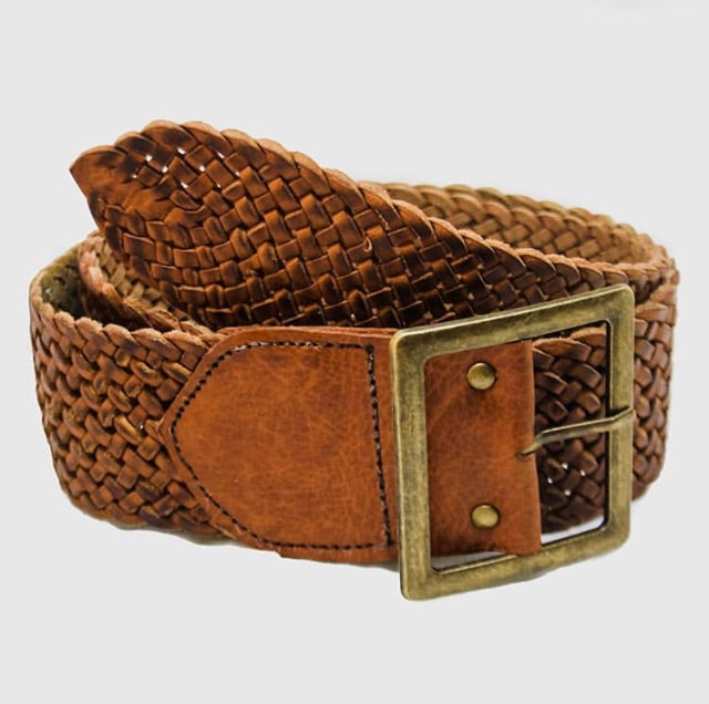 Brass T-bar Woven Leather Belts
