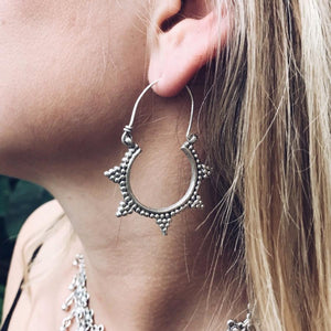 Spike Tribal Hoop Earrings