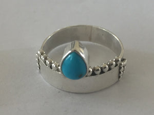 Pear Shaped Turquoise Sterling Silver Ring