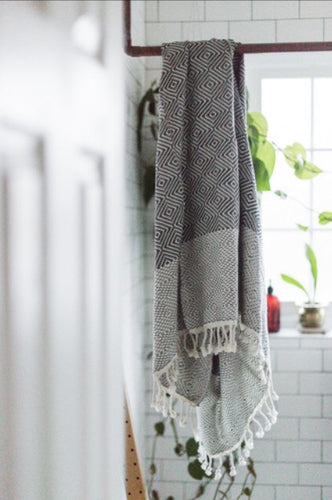 Tribal Diamond Turkish Towel Black