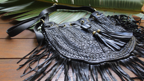 Festival Fringe Woven Leather Bag