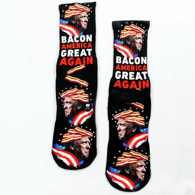 Bacon-America-Great-Again-Trump-Socks-Flat-View