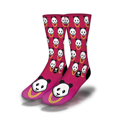Panda-Gold-Chain-Socks-Pink