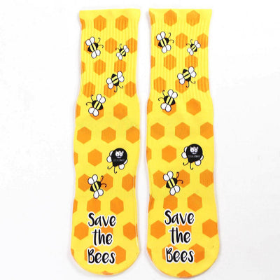 Save-The-Bees-Socks-Flat-View