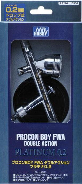 MR HOBBY PS-270 0.2mm Mr Procon Boy Double Action Platinum Airbrush