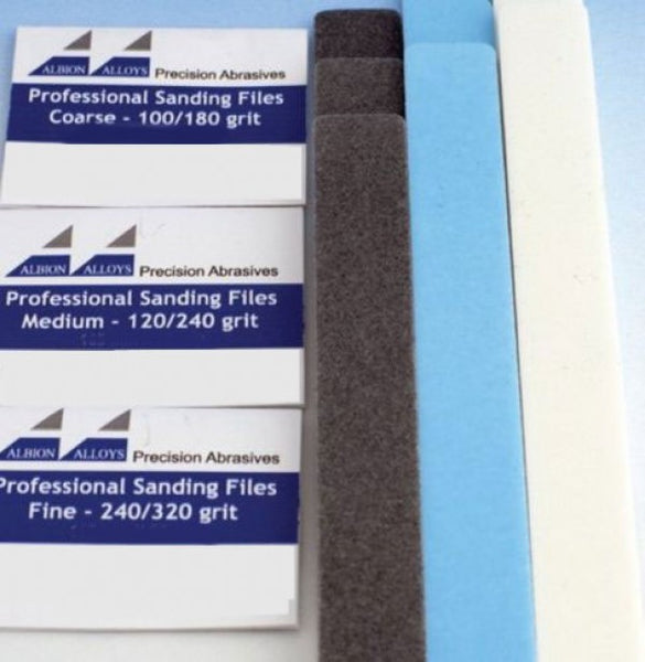 ALBION ALLOYS 341 20mm 3 Pack Sanding Files Coarse 100/180 Grit Grey