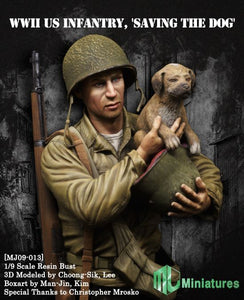 MJ MINIATURES MJ09-013 WWII Infantry Saving the Dog 1:9 Scale