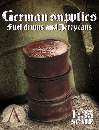 SCALE75 SW35004 GERMAN SUPPLIES - FUEL DRUMS AND JERRYCANS 1:35 Scale Resin