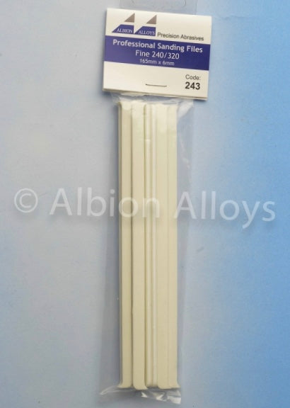 ALBION ALLOYS 243 6mm 10 Pack Sanding Files Fine 240/320 Grit White