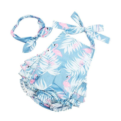 Image of Flamingo Romper + Headband Set