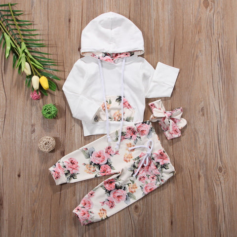Image of Floral hooded top, leggings and headband