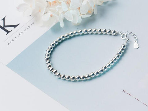 Image of Fine Sterling Silver bracelet - 4mm beads
