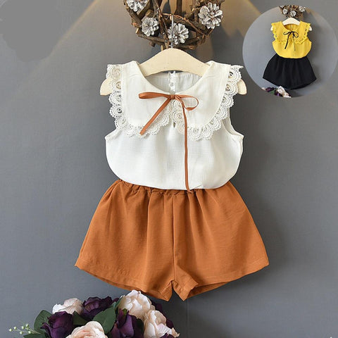 Sleeveless Lace Bow Tops+Shorts Outfits