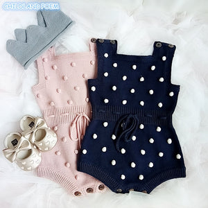 Knitted Polka Dot Romper