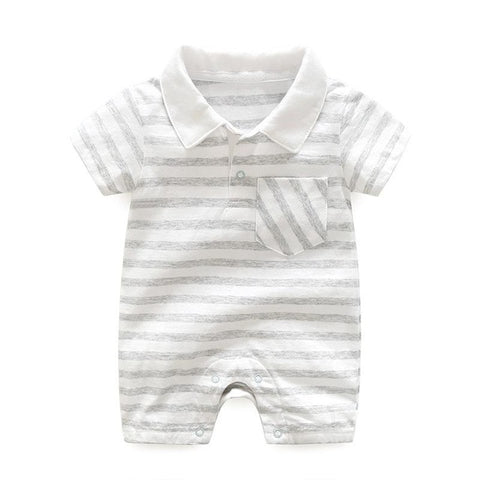 Image of Short Sleeve Striped Romper