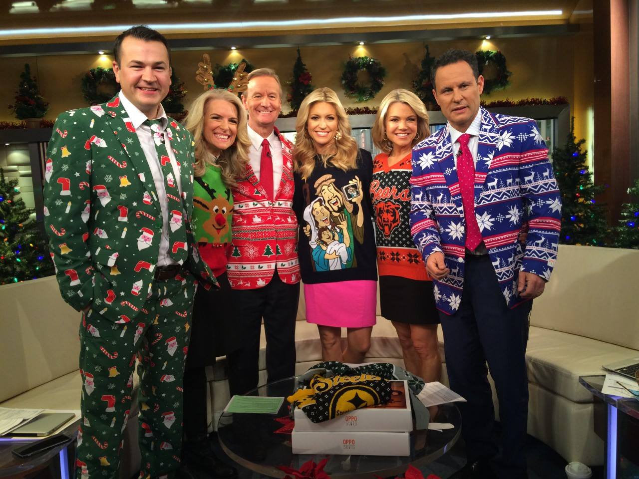 Fox and Friends Show Off Christmas Suits and Sweaters