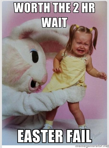 Easter Bunny Epic Fail Creepy Bunny Scared Kid