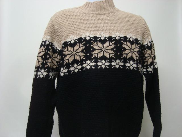 Large Black and Beige Christmas Sweater with Snowflake Pattern