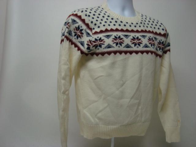 White Vintage Ugly Christmas Sweater with Maroon and Blue Nordic Pattern