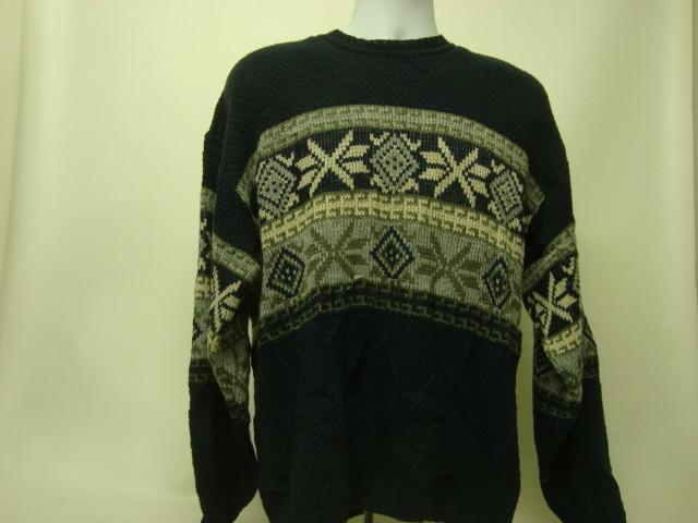 Large Christmas Sweater with Navy Blue and White Snowflakes