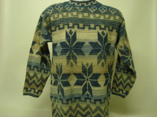 Ugly Sweater Large Blue with Saskatchewan snowflake design