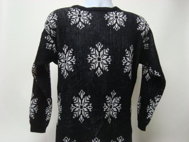 Medium Black Ugly Christmas Sweater with White Snowflakes