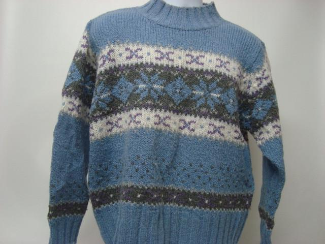 Vintage Ugly Christmas Sweater Light Blue with Brown and White