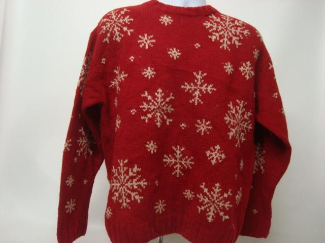 Red Medium Ugly Christmas Sweater with Snowflakes