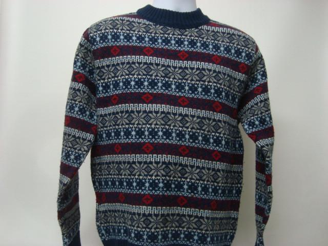 Vintage Christmas Sweater Blue Red White Large