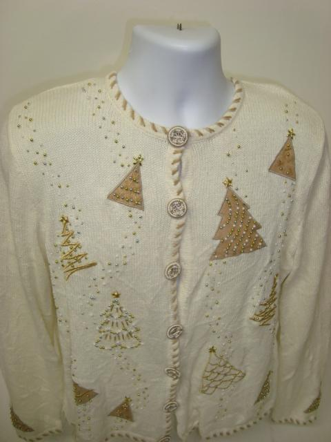 White with Gold Christmas Trees and swirly buttons