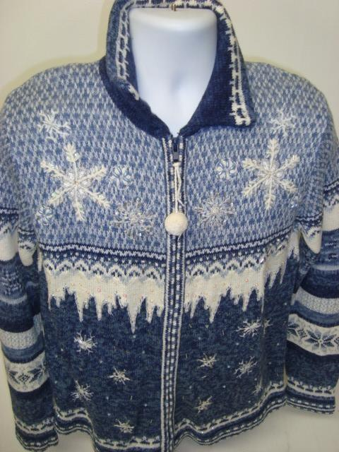 Funny Ugly Christmas Sweater Blue with Light Blue and Ice Snowflakes