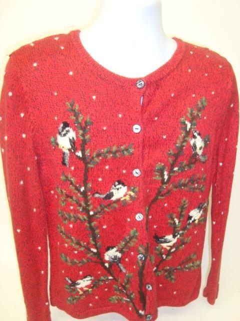 Red Funny Xmas Sweater with Birds and Trees and Snow