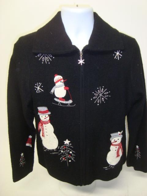 Small Zip Up Ugly Christmas Sweater with Snowmen
