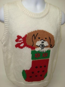 Ugly Christmas Sweater Vest White Large Size with Puppy and Stocking