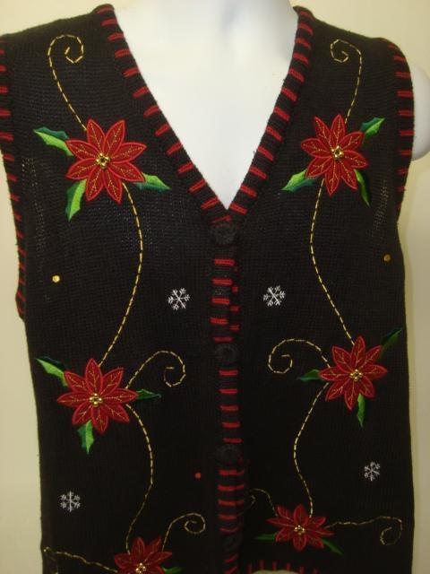 Poinsettia Pasties Ugly Christmas Sweater Vest