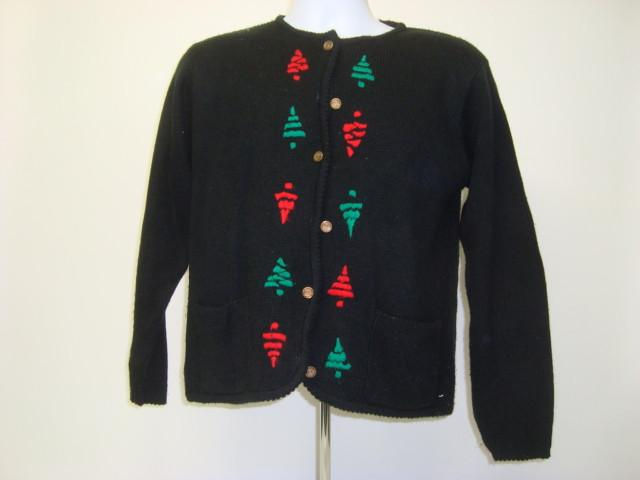 Small Black Christmas Sweater with Button Front with Green and Red Trees