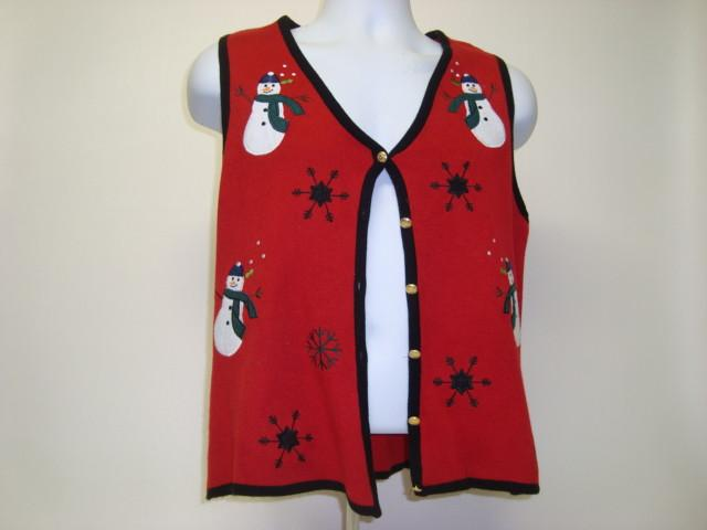 Red Christmas Jumper Vest with Snowmen