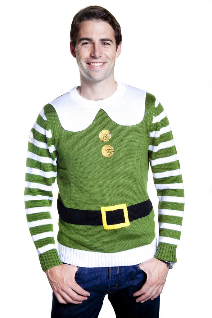 Buddy Elf Christmas Sweater Green and White with Belt