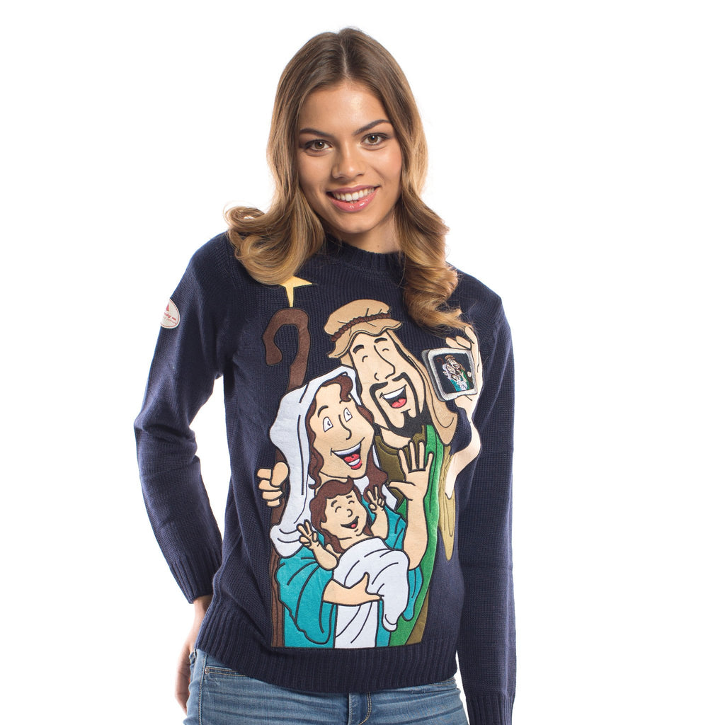 Funny Sweater Jesus Mary and Joseph Selfie