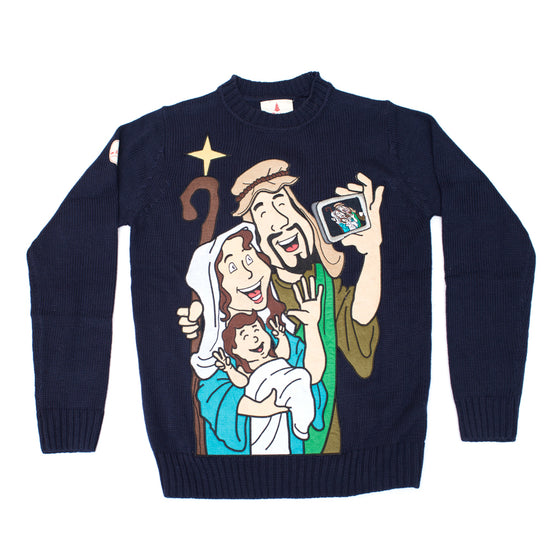 funny sweater jesus mary and joseph selfie - Big And Tall Christmas Sweaters