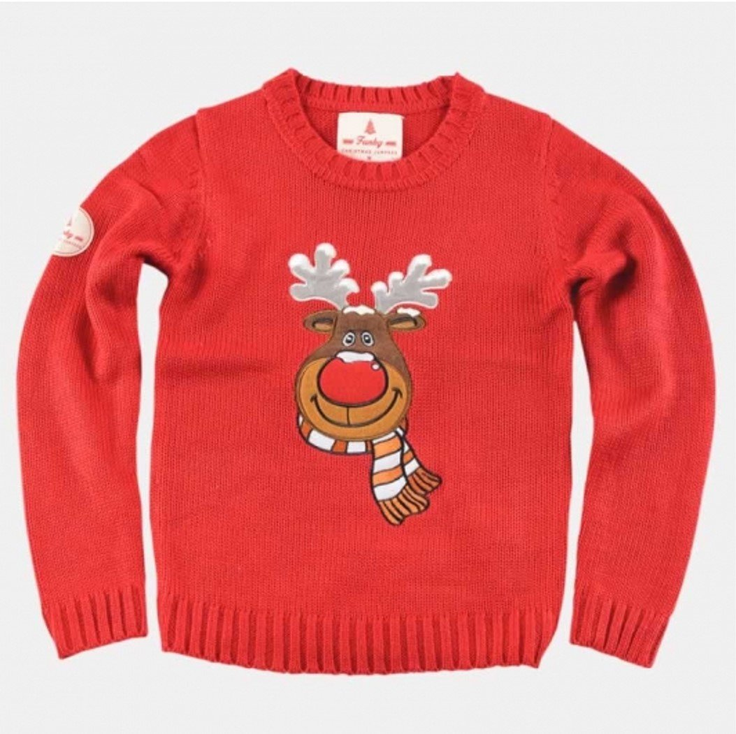 Kids Ugly Christmas Sweater Rudolph Red Nosed Reindeer